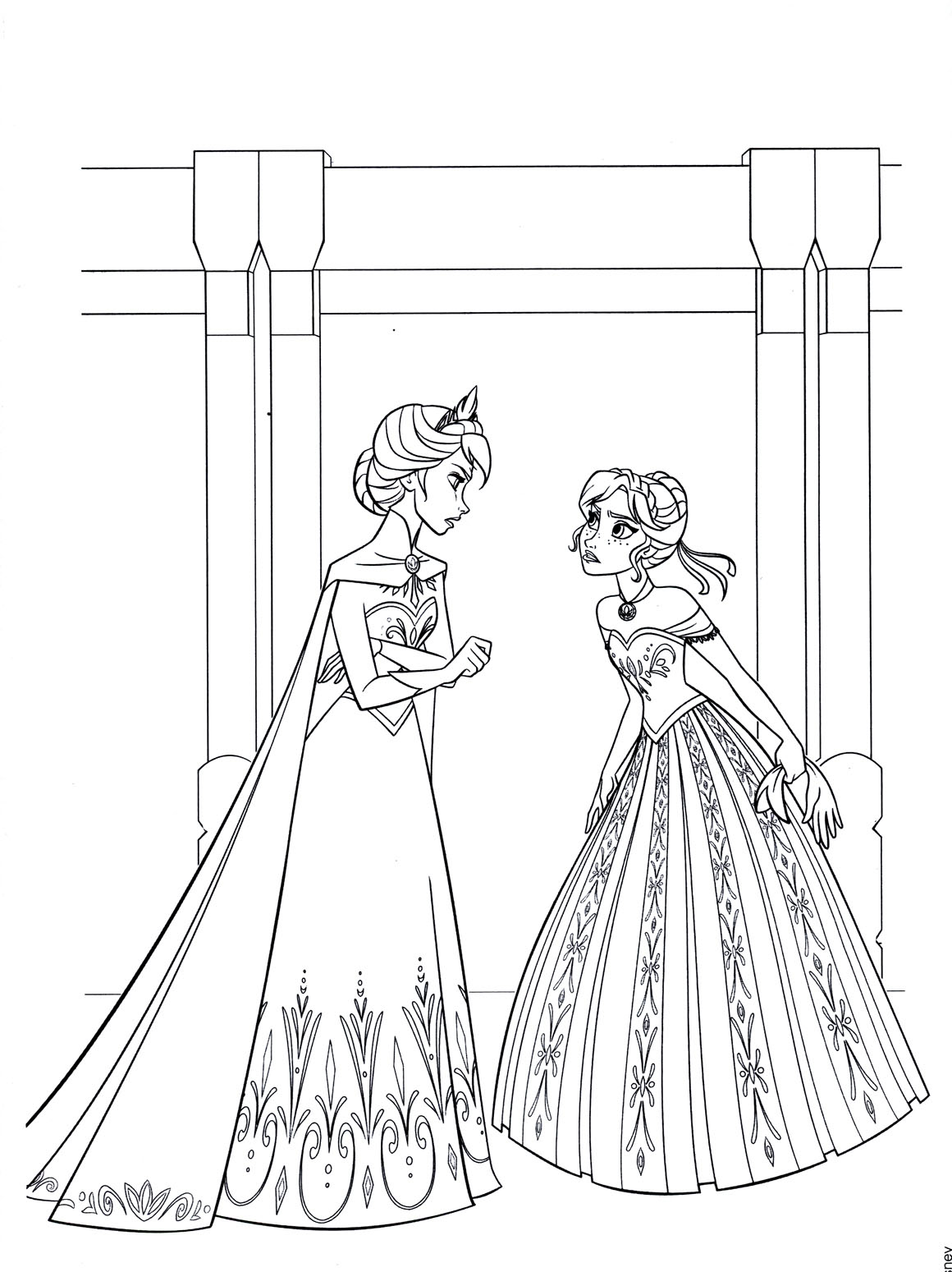 Free Frozen coloring page to download : Anna & Elsa with the two princesses