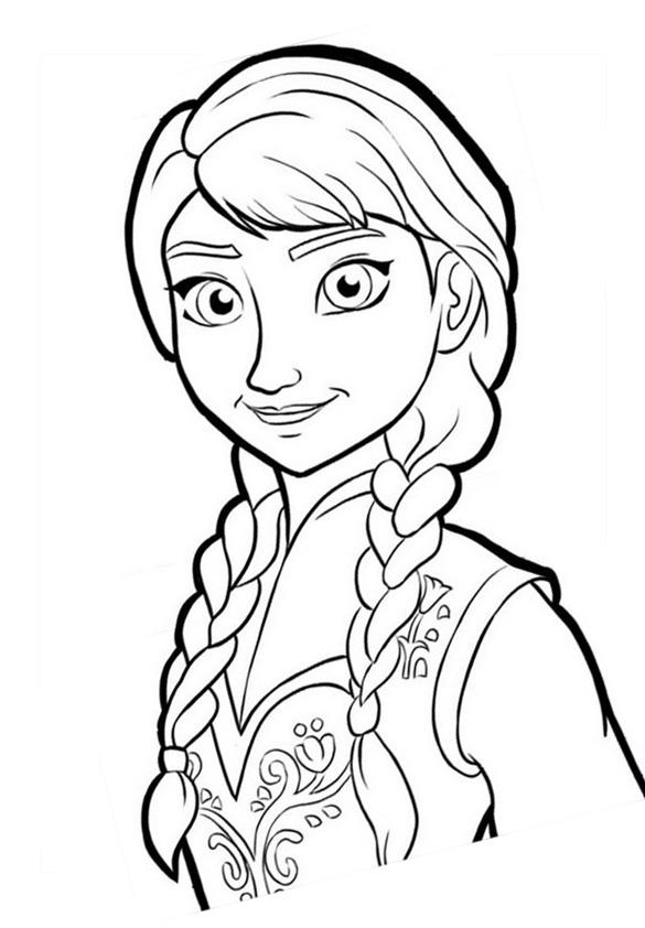 Funny Frozen coloring page : Anna portrait