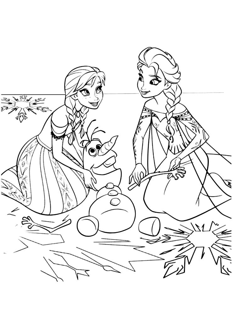 Simple Frozen coloring page to download for free : Anna and Elsa repairing the broken snowman