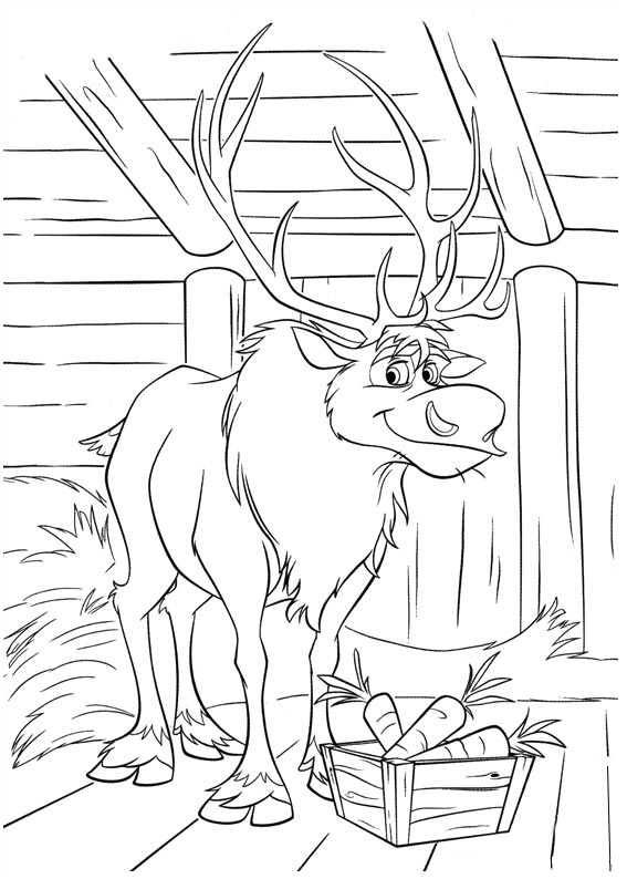 Simple Frozen coloring page for kids : The beautiful Reindeer