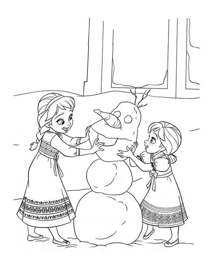 Frozen coloring page to print and color for free : Anna & Elsa (kids) with Olaf