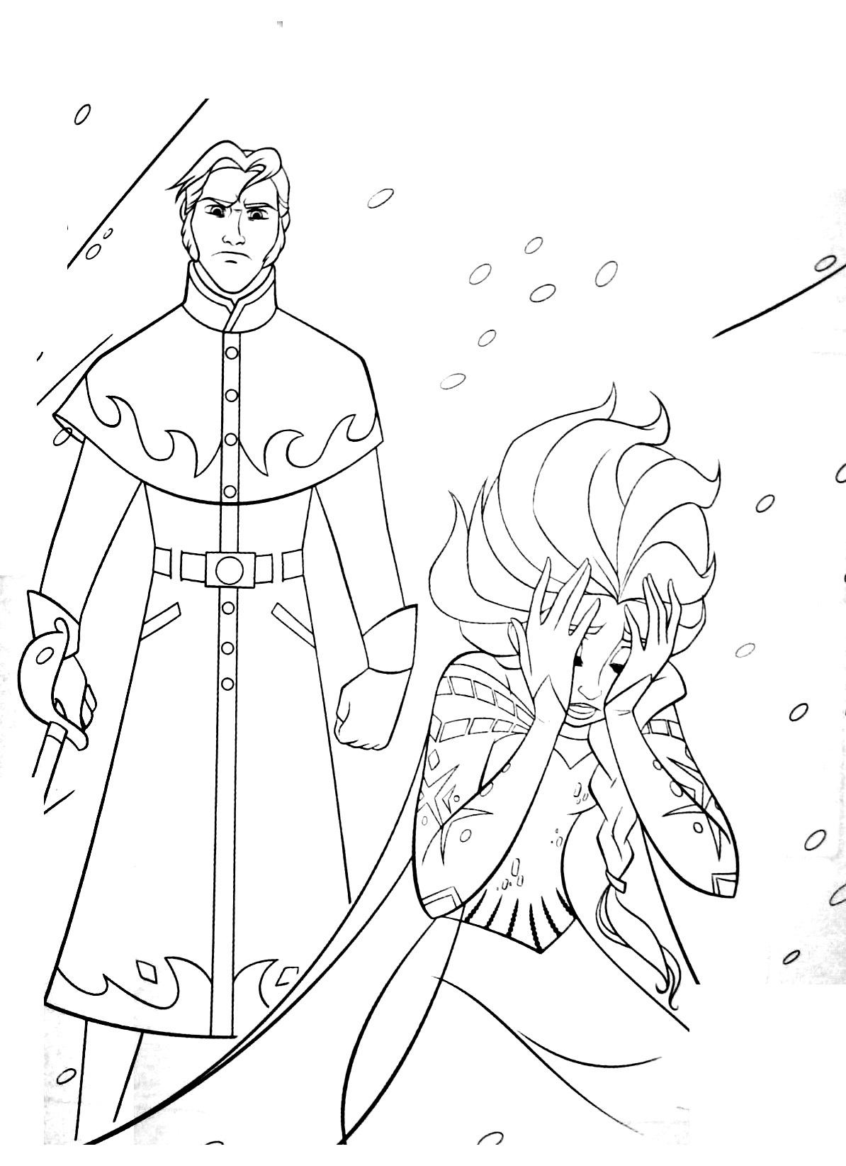 Free Frozen coloring page to print and color : The bad Hans