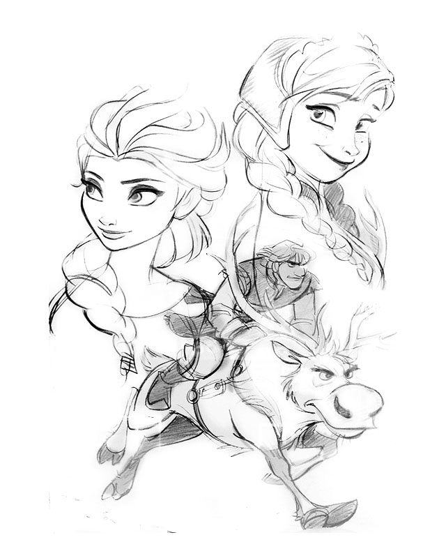 Simple Frozen coloring page to print and color for free : Anna, Elsa & Sven
