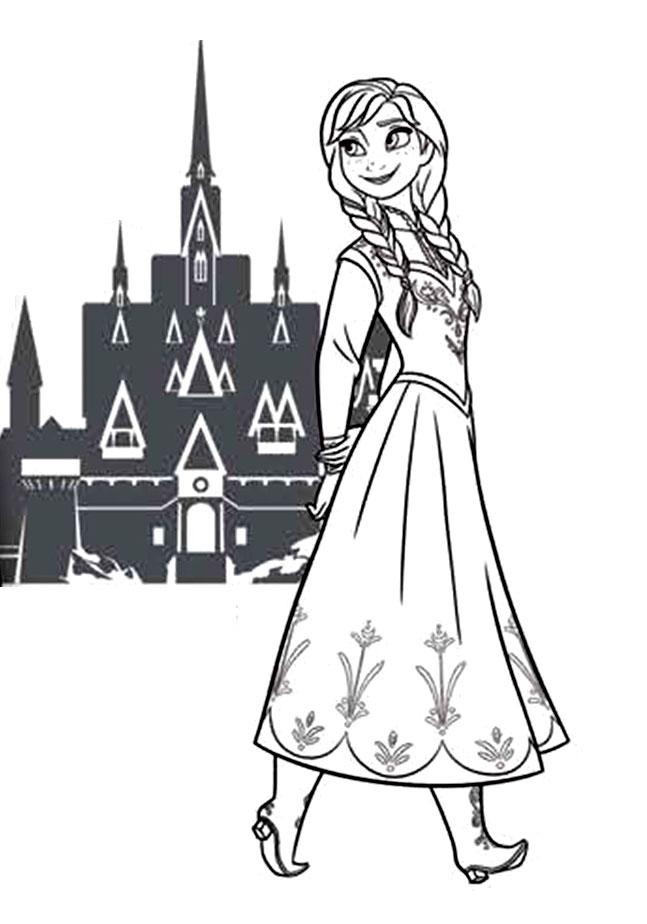 Simple Frozen coloring page : Beautiful castle