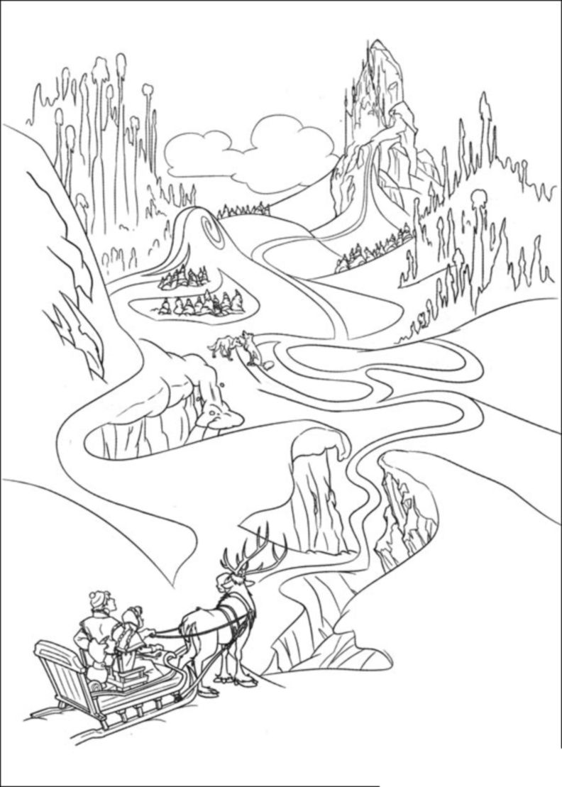 Simple Frozen coloring page for kids : The path to the new castle of Elsa is long !