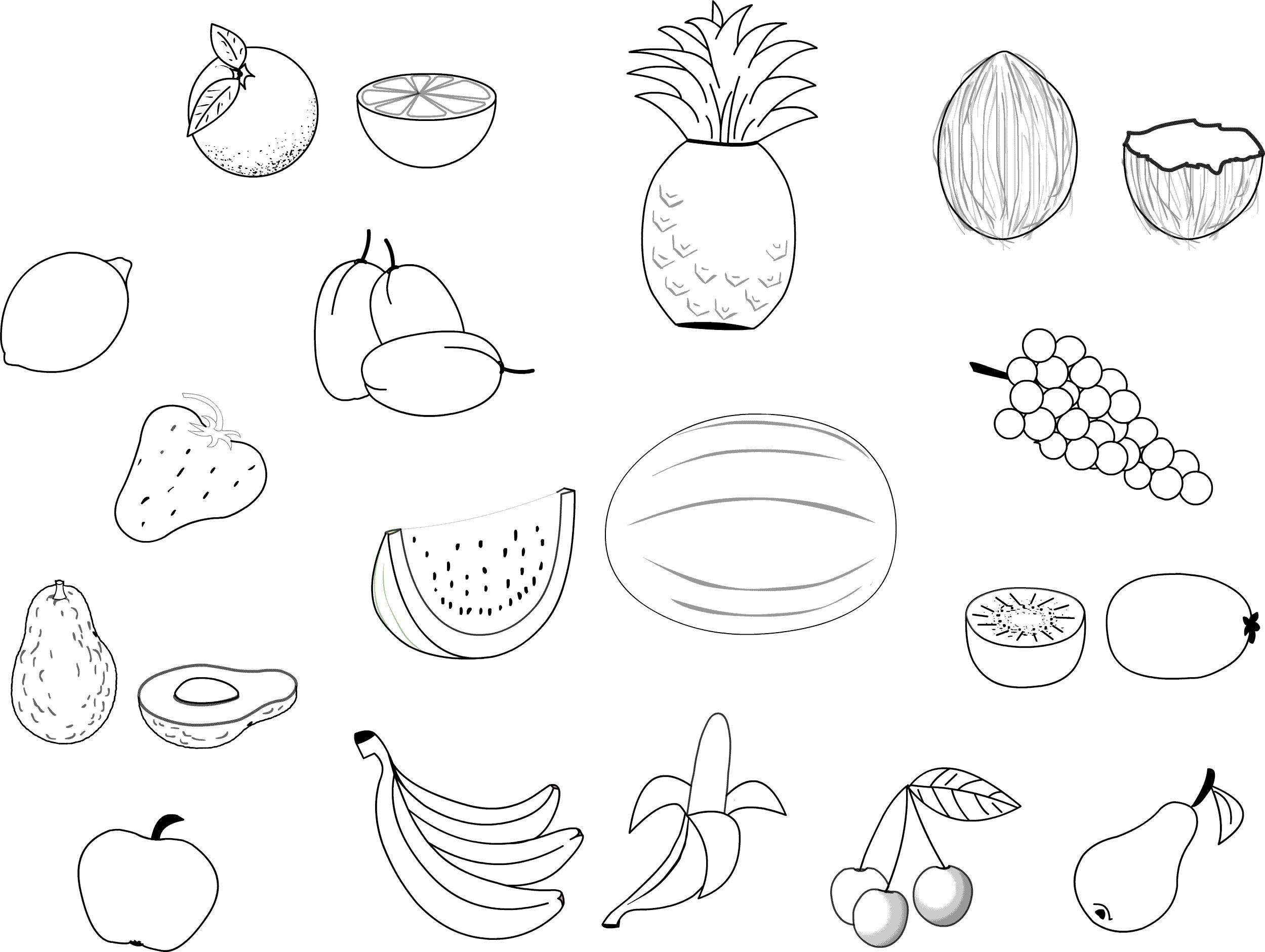 Fruits and vegetables free to color for kids - Fruits And Vegetables ...