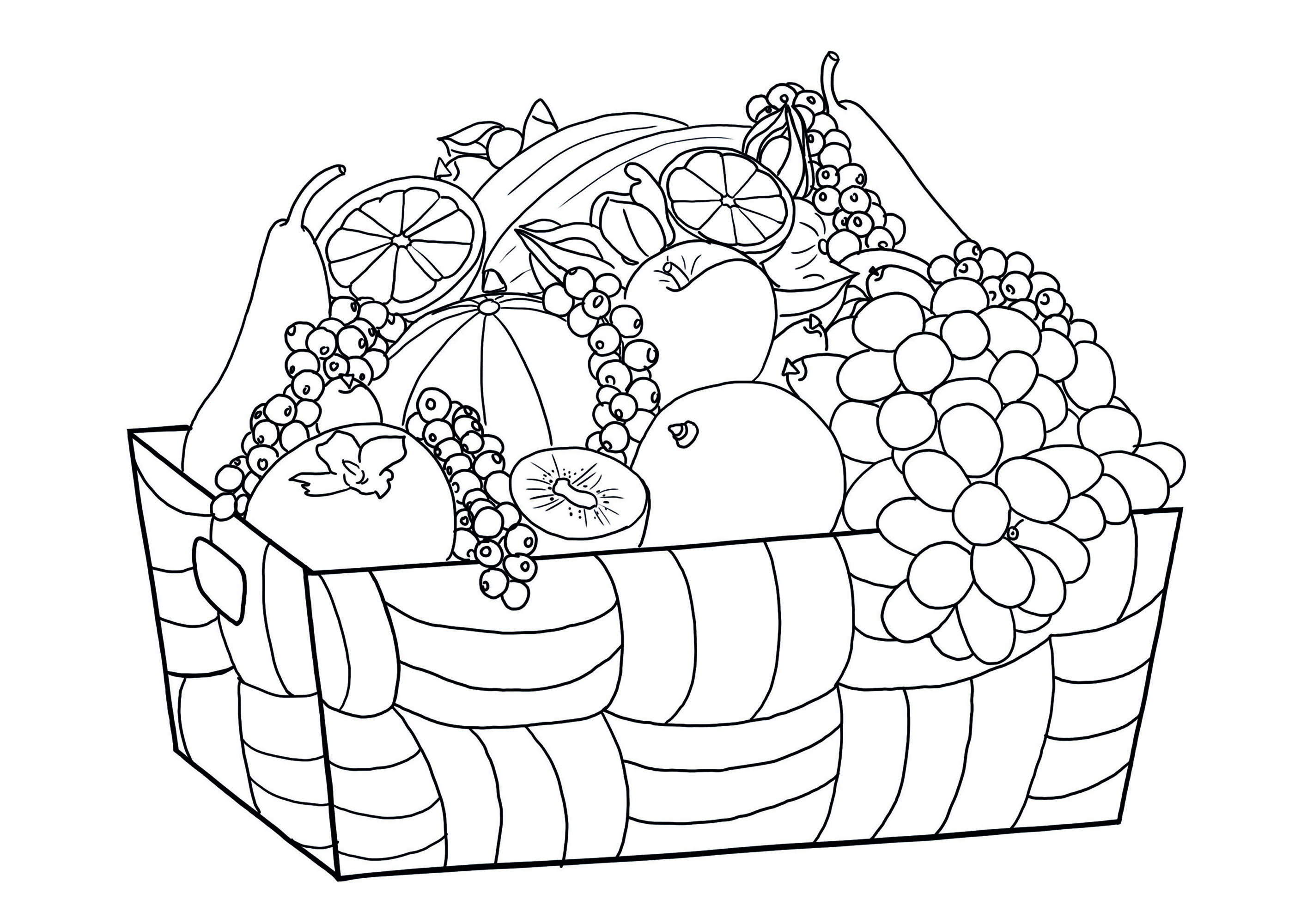 Printable Fruits And Vegetables coloring page to print and color for free