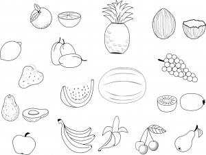 Coloring page fruits and vegetables free to color for kids