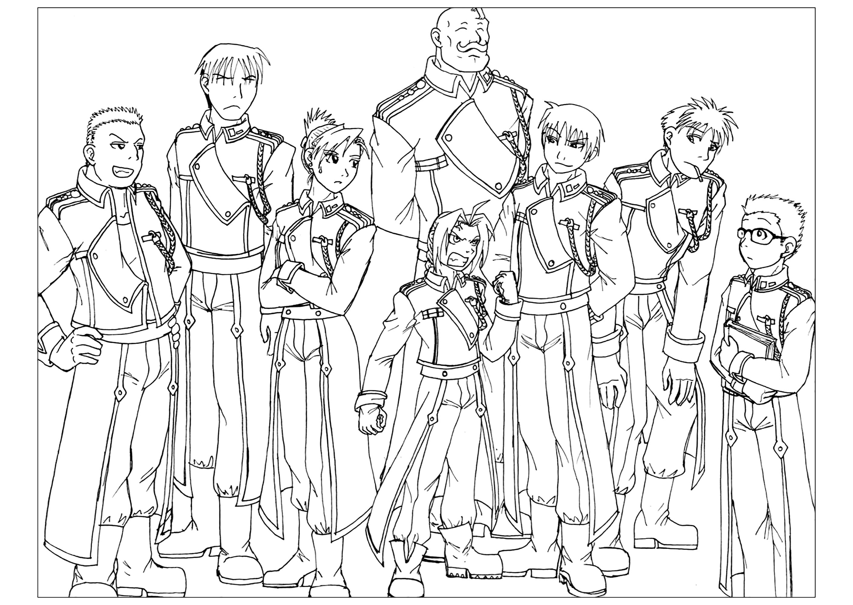 Simple Full Metal Alchemist coloring page to download for free