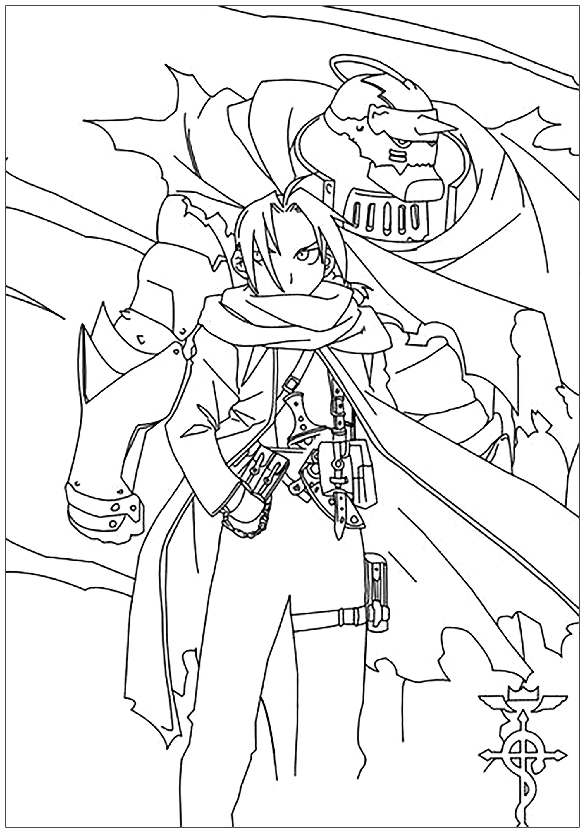 Free Full Metal Alchemist coloring page to print and color, for kids