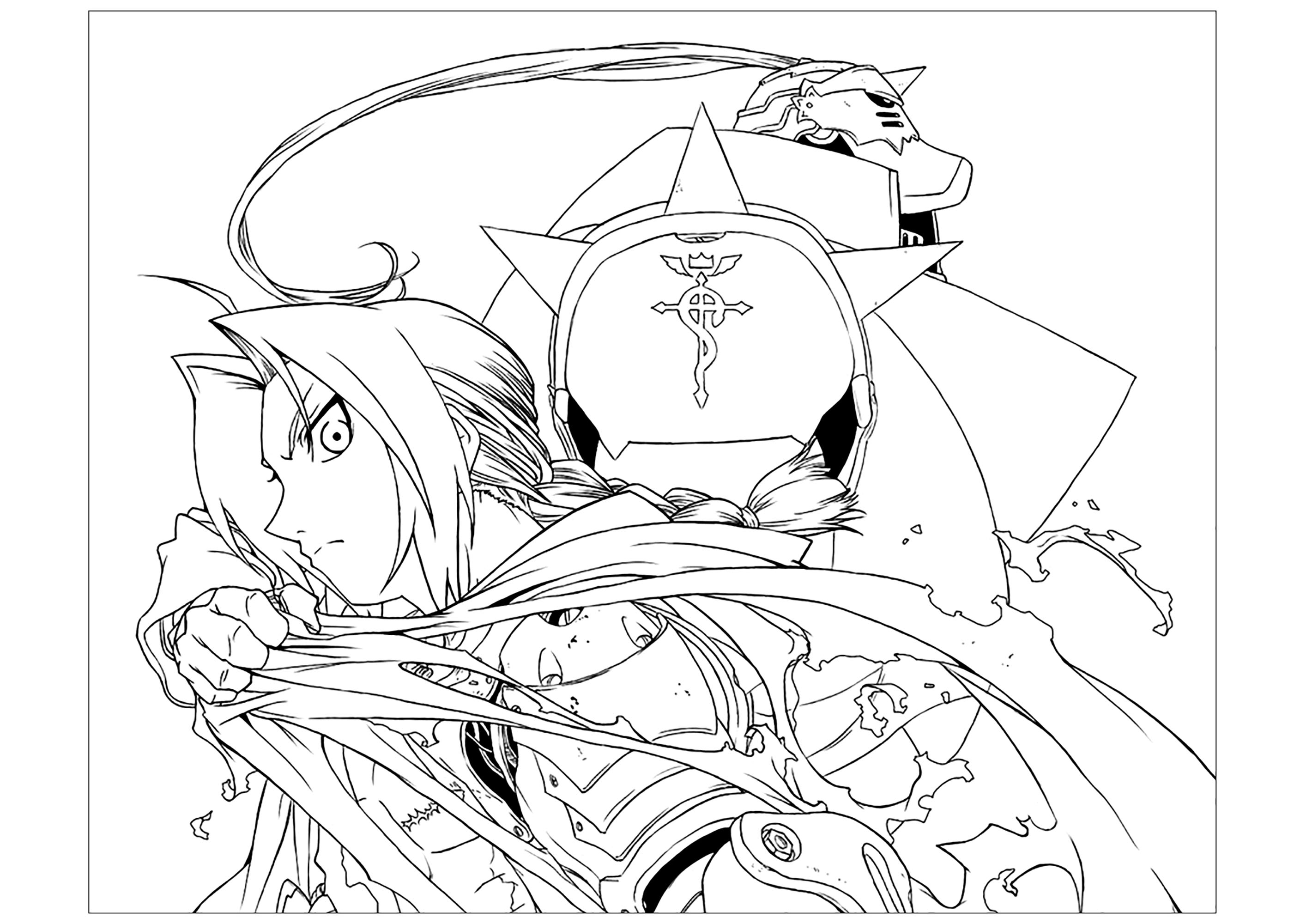 Funny Full Metal Alchemist coloring page for children