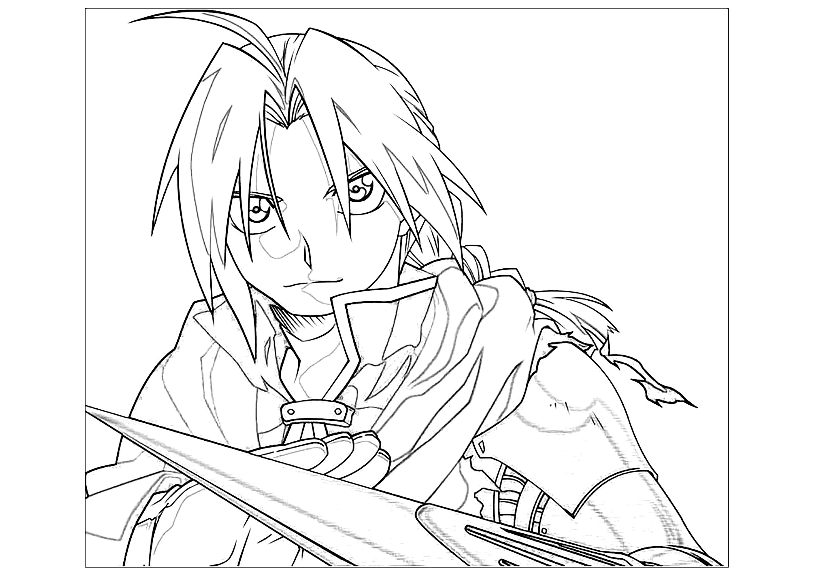 Funny Full Metal Alchemist coloring page for kids