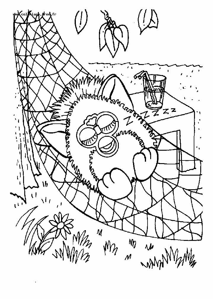 Printable Furby coloring page to print and color for free