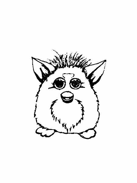 Funny Furby coloring page for children