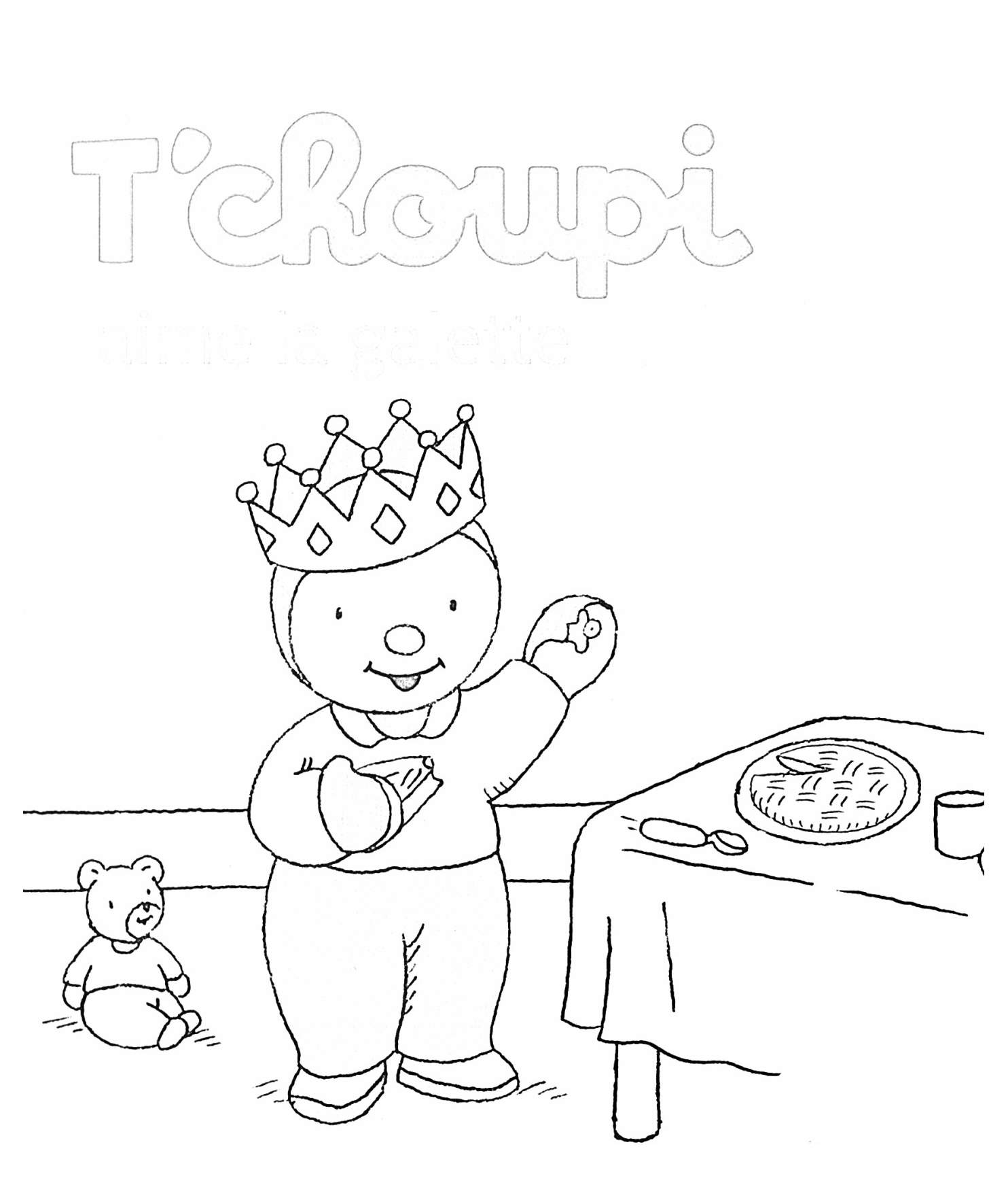 Galette coloring page with few details for kids