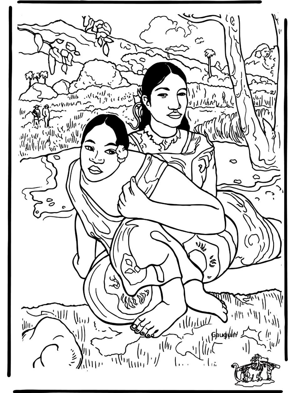 Incredible Paul Gauguin coloring page to print and color for free