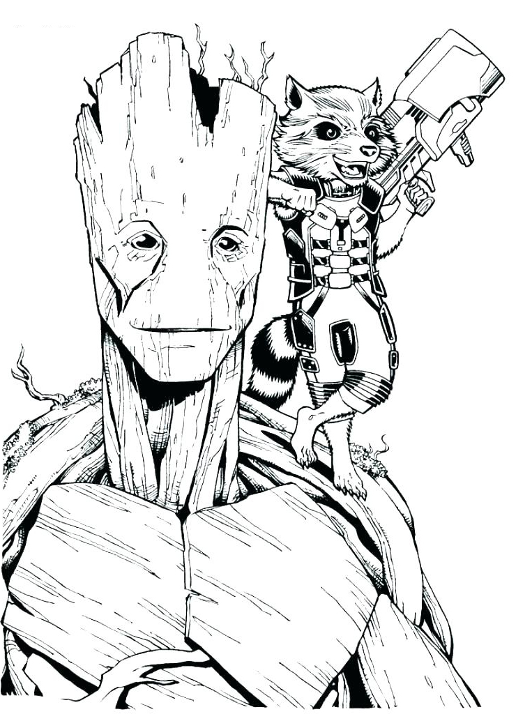 Simple Guardians of Galaxy coloring page : Groot and Rocket Raccoon