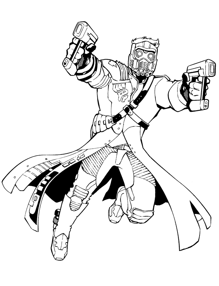 Beautiful Guardians of Galaxy coloring page : Star Lord