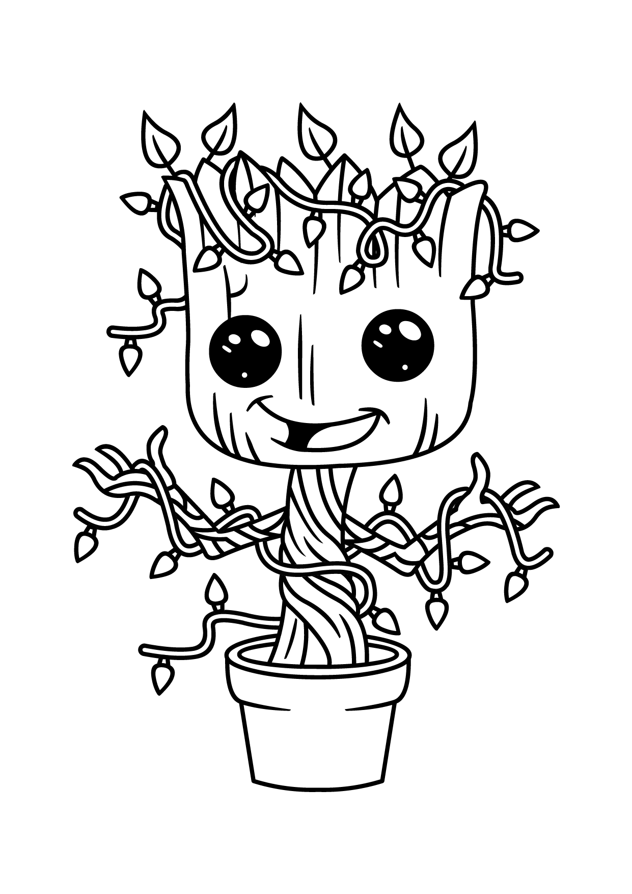 Simple Guardians of Galaxy coloring page for children : Groot with littles leaves