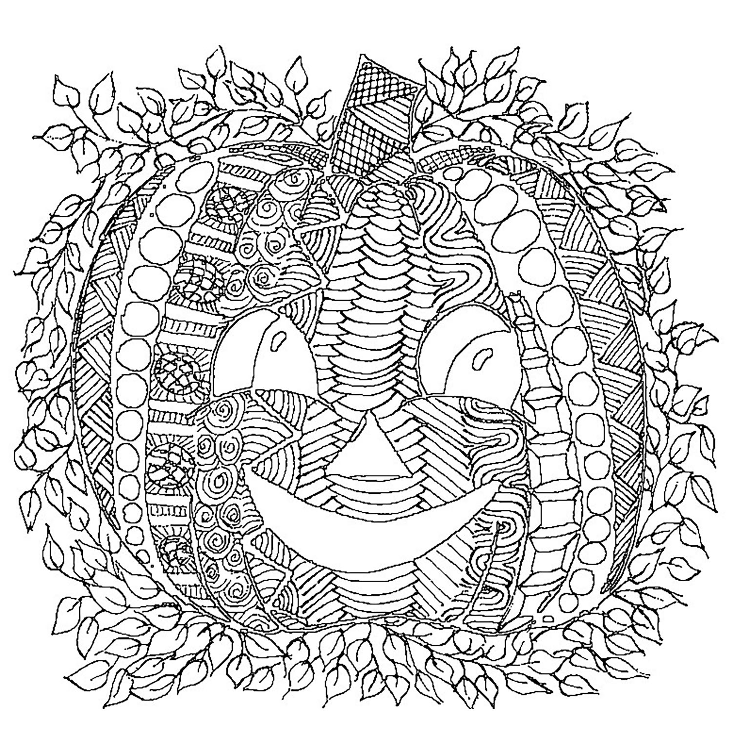 Halloween coloring page with few details for kids