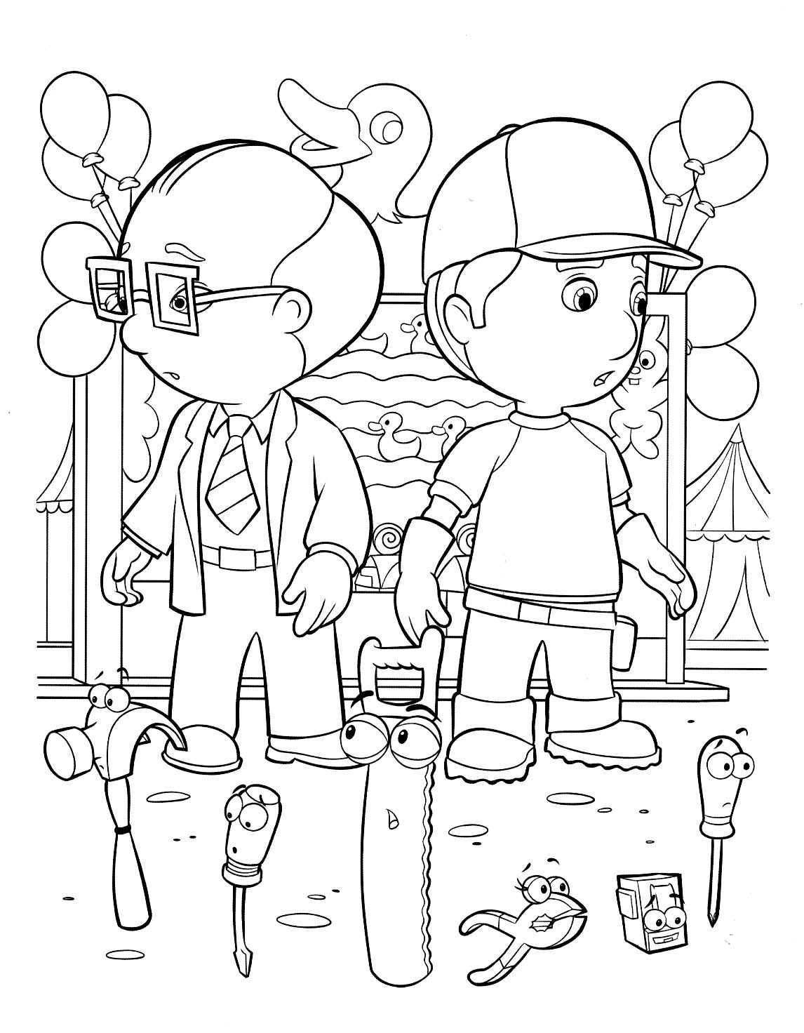 Beautiful Handy Manny coloring page to print and color