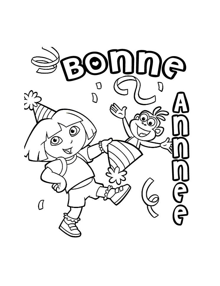 Happy New Year coloring page to download for free