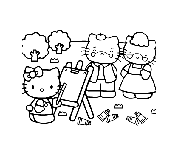 Simple Hello Kitty coloring page to print and color for free