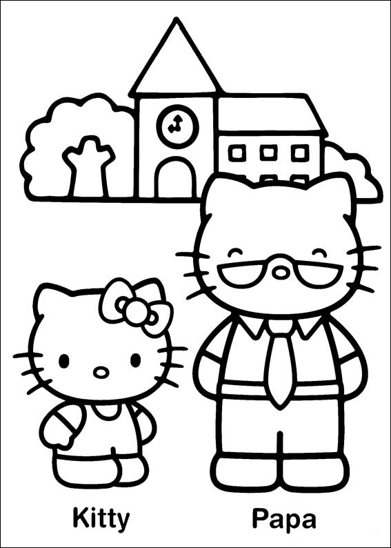 Hello Kitty coloring page with few details for kids
