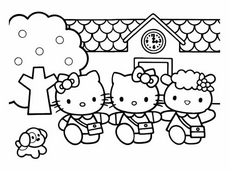 Easy free Hello Kitty coloring page to download