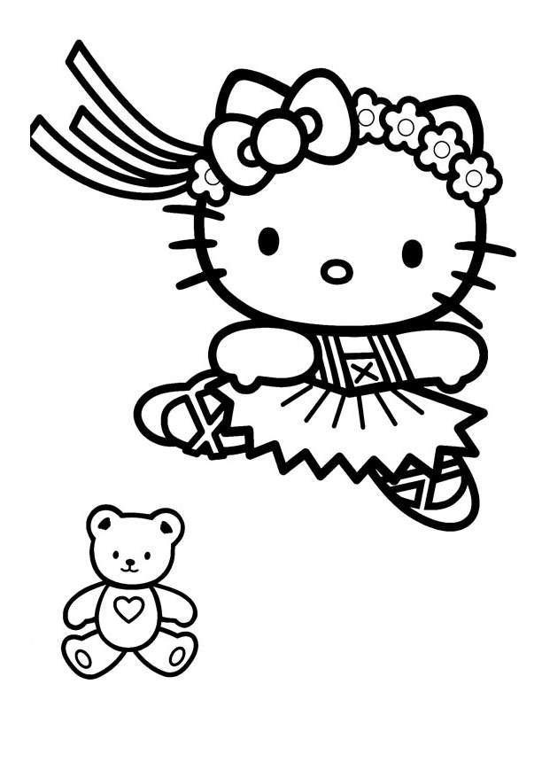 Hello Kitty coloring page to download for free