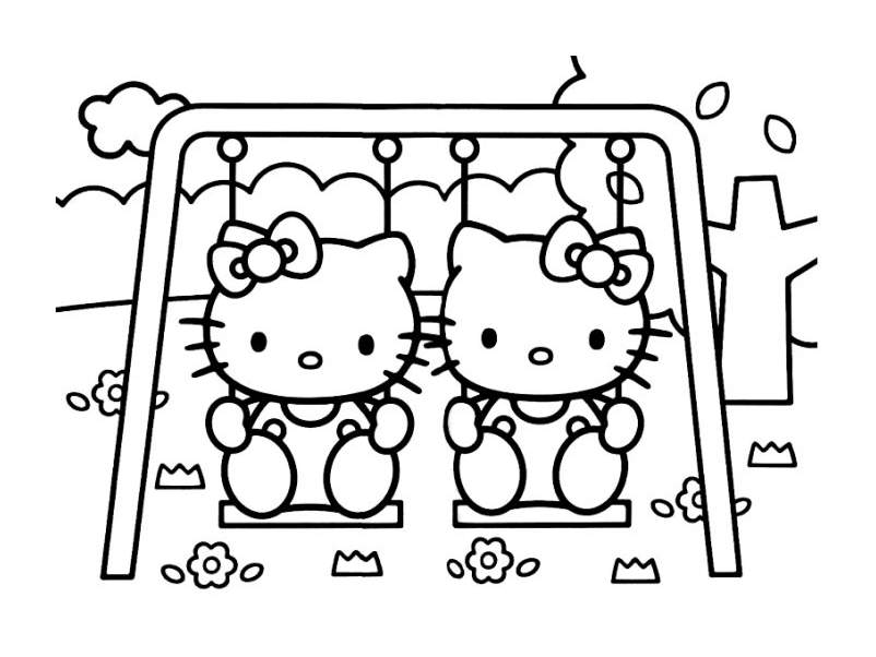 Hello Kitty coloring page to print and color