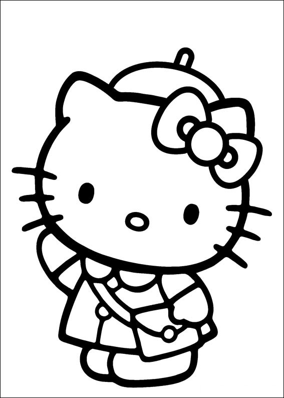 Simple Free Hello Kitty Coloring Page To Print And Color