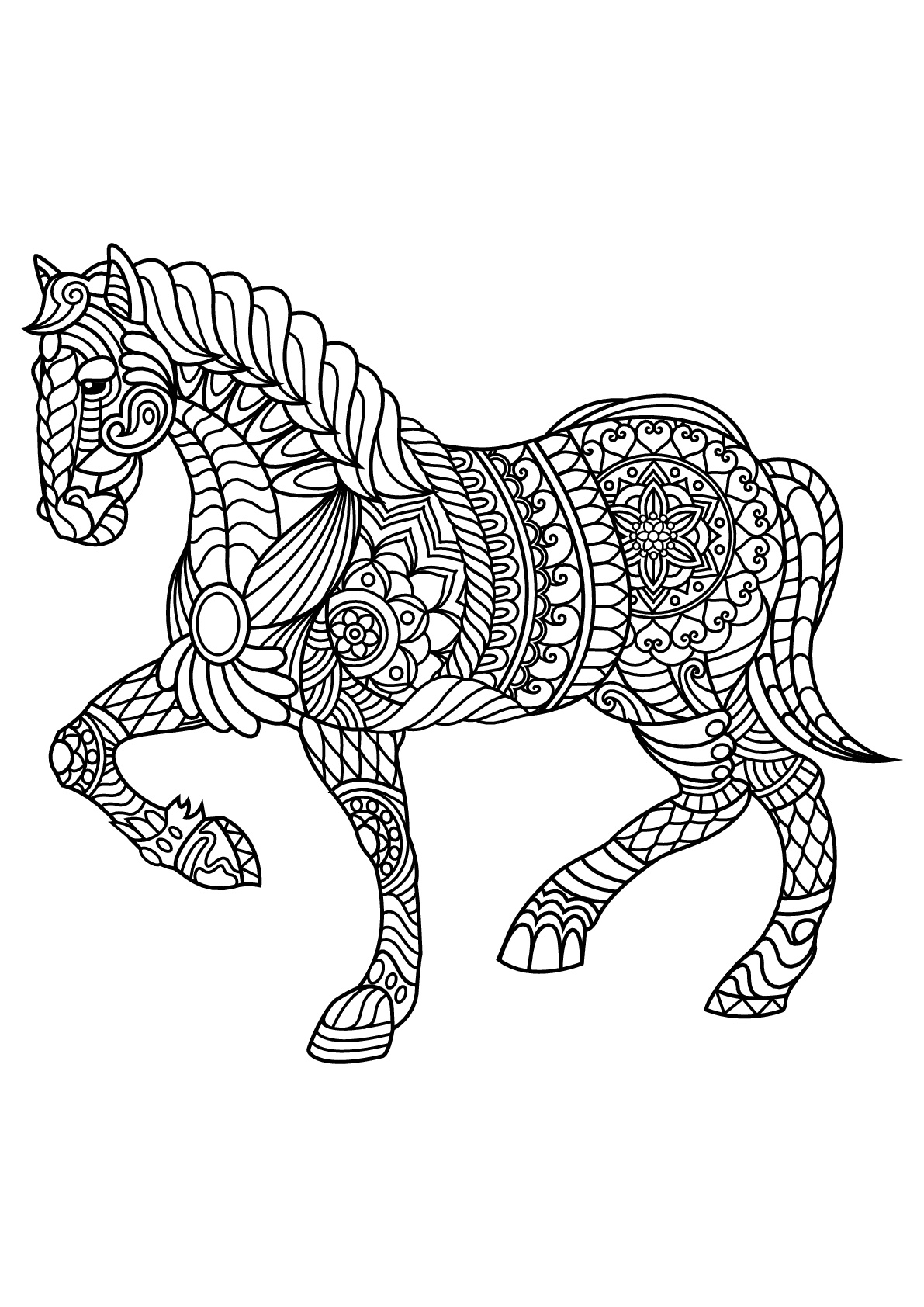 Horse coloring page to download : trotting horse (2)