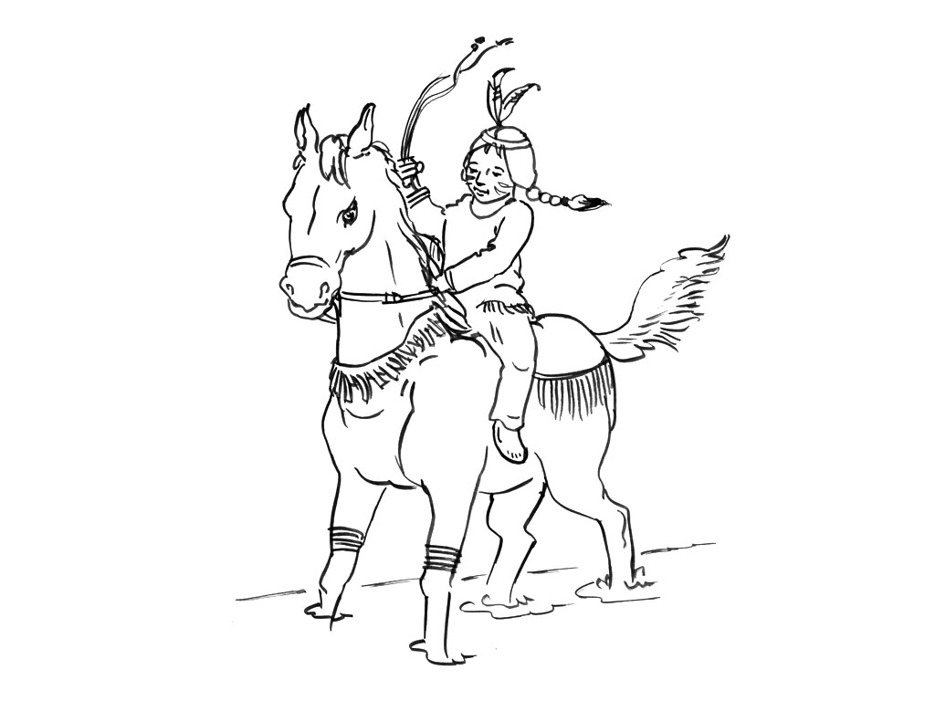 Funny horse coloring page : Little indian and horse