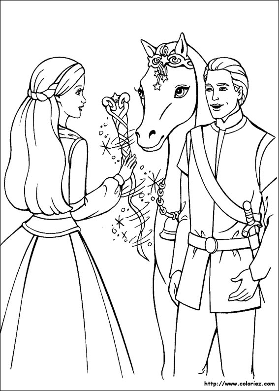 Funny horse coloring page for children : Barbie & Ken with a horse