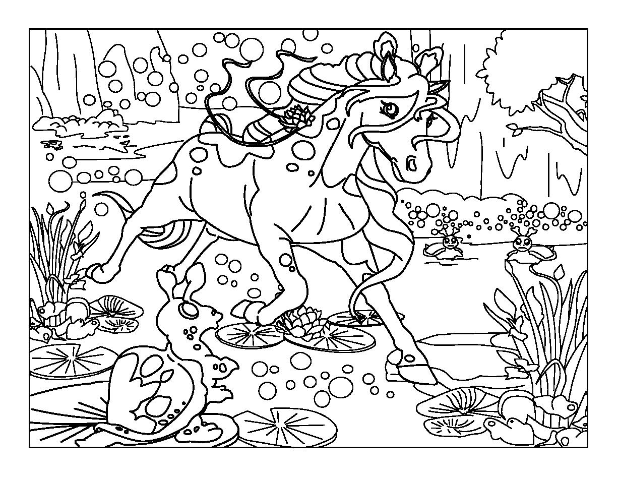 Coloring page full of details of a horse