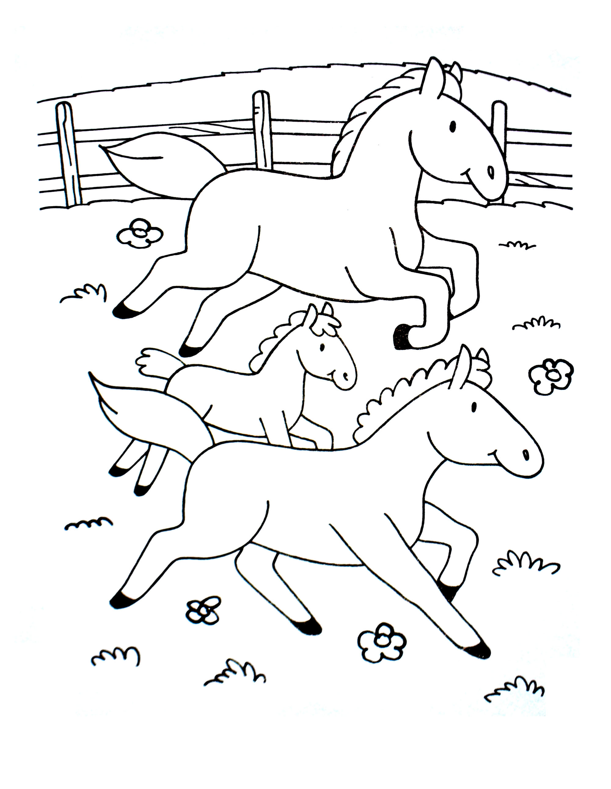 Free & Simple Horse coloring page to download