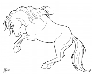 Coloring page horses to color for children : saluting horse
