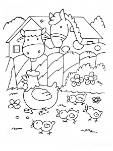 Coloring page horse to color for children : Horse & cow