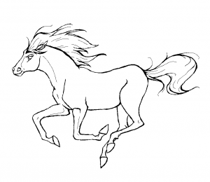 Coloring page horse to color for kids : Simple drawing of galloping horse