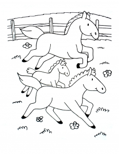 Coloring page horse to color for kids : Simple drawing