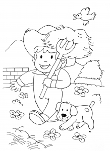 Coloring page horse to color for children : Little farmer
