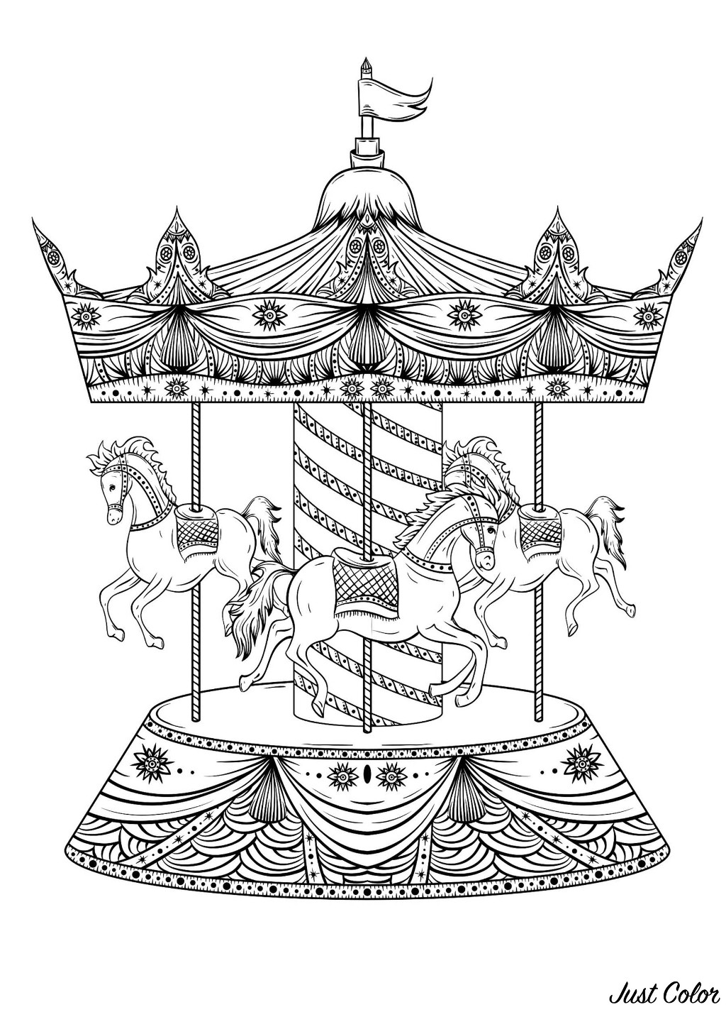 Horse coloring page to download for free : carousel with horse