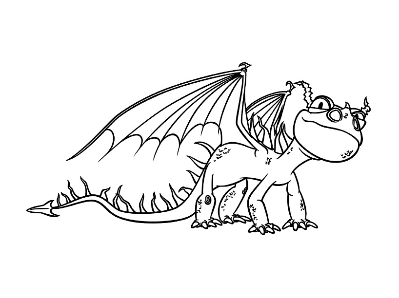 Simple How to Train Your Dragon coloring page to print and color for free