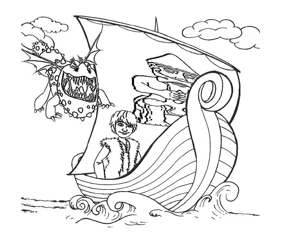 Simple free How to Train Your Dragon coloring page to print and color
