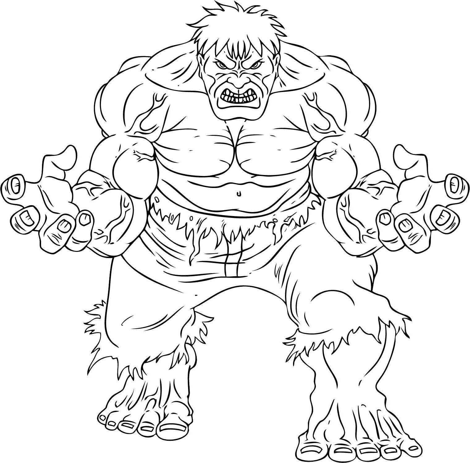 Hulk coloring page to download for free