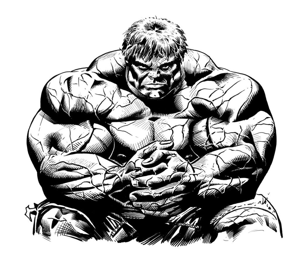 Printable Hulk coloring page to print and color for free