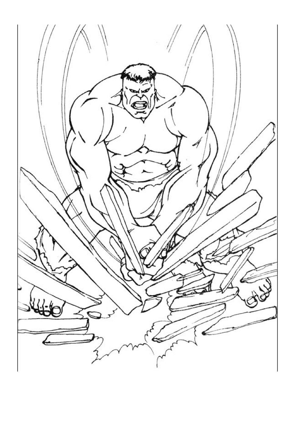 Printable Hulk coloring page to print and color