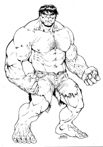 Coloring page hulk for kids