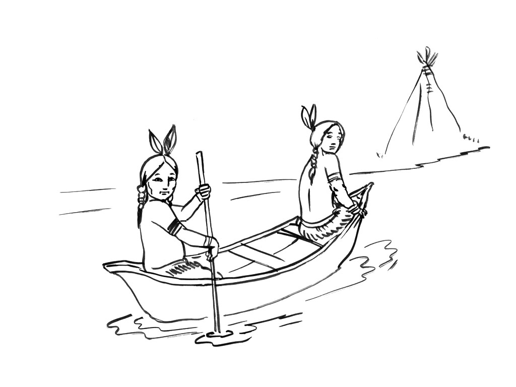 Free Indians coloring page to download, for children